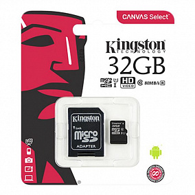 Kingston microSDHC 32Gb Class 10 + SD Adapter